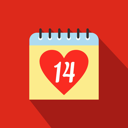 14 of february: 14 February calendar flat icon. Single symbol with heart on a red background Illustration