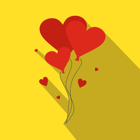 relationship love: Valentine day balloons flat illustration. Moden symbol with hearts-balloons on a yellow background Illustration