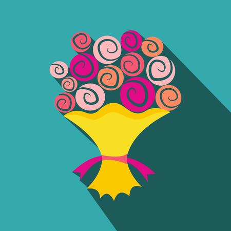 花フラット アイコンの花束。黄色のパッケージにバレンタインの日の花