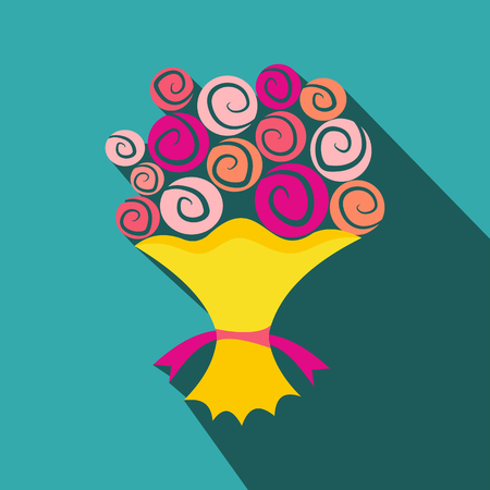 mazzo di fiori: Mazzo di fiori icona piatta. San Valentino fiori in un pacchetto di colore giallo
