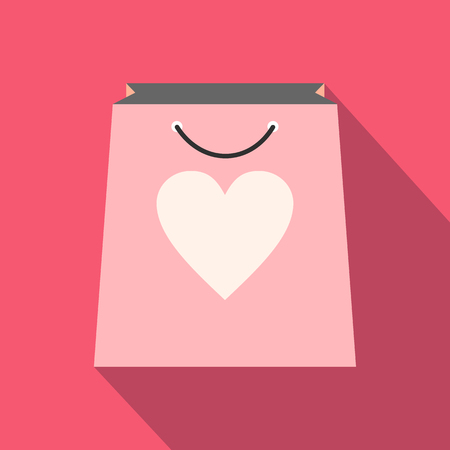 shopping store: Shopping bag with heart icon. Pink flat icon with long shadow Illustration