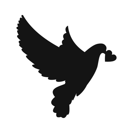 dove flying: Dove with heart simple icon. Modern symbol on a white background Illustration