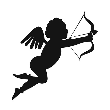 cupid: Valentine day cupid simple icon. Love angel modern symbol