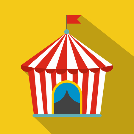 Vintage Circus Tent Flat Icon On A Yellow Background Royalty Free