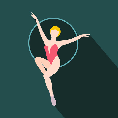 trapeze: Woman trapeze artist flat icon. Air gymnast on the hoop Illustration