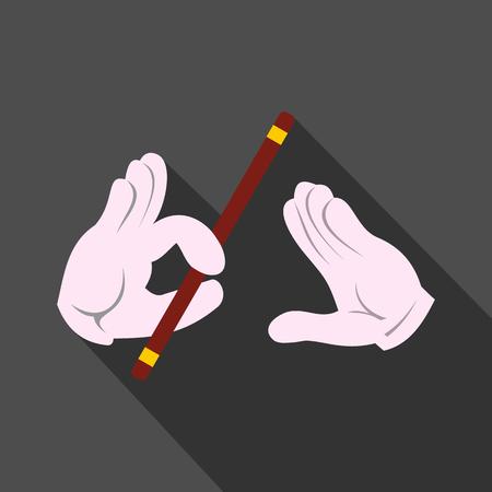 mago: Manos del mago con el icono del palo. Las manos enguantadas. Símbolo moderno plano sobre un fondo gris