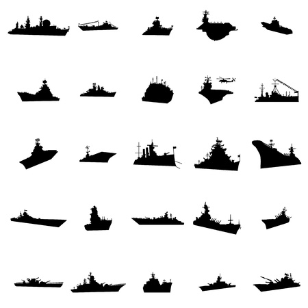 25 different warships silhouettes isolated on white background