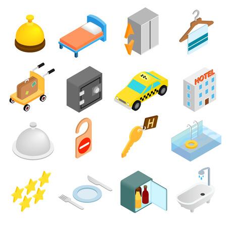 3d icons: Hotel isometric 3d icons set isolated on white background