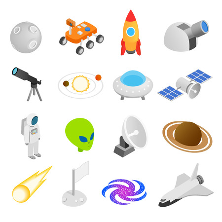 space station: Space isometric 3d icons isolated on white background
