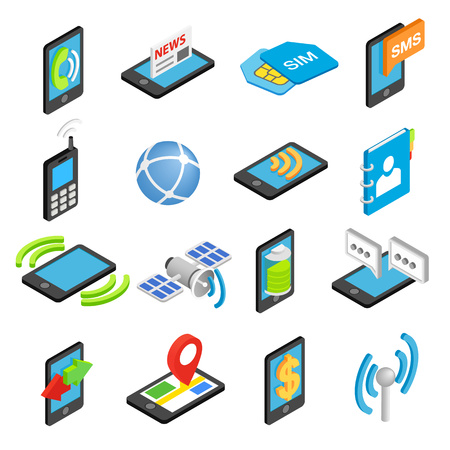 Phone isometric 3d icons set isolated on white background