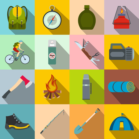 camping: Camping flat icons set for web and mobile devices