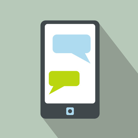 messaging: Messages on a phone icon. Flat symbol of sms on mobile phone with long shadow