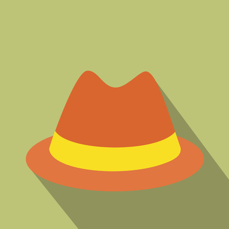 derby hat: Male hat flat icon. Single illustration of man hat on a green background Illustration