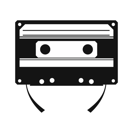 compact cassette: Audio compact cassette simple icon isolated on white background