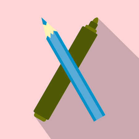 fineliner: Marker pen and pen icon with long shadow. Flat style  illustration