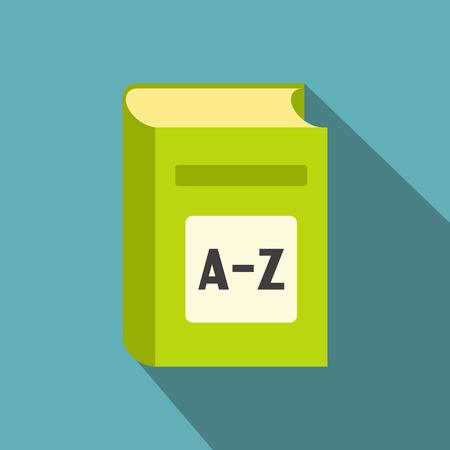 Englisch-Wörterbuch Flach Symbol. Grünes Buch mit AZ auf dem Cover auf blauem Hintergrund Standard-Bild - 49201613