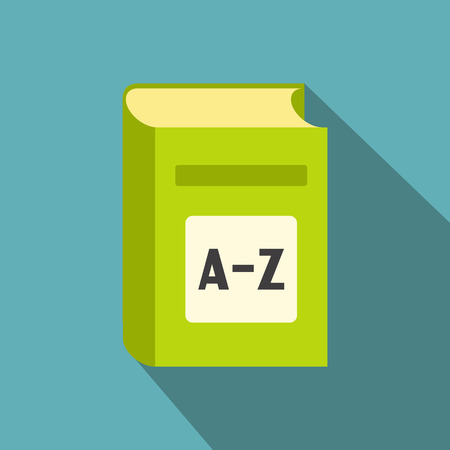 in english: English dictionary flat icon. Green book with A-Z on the cover on blue background
