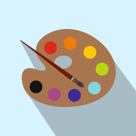 pallete: Art palette with paint brush flat icon with long shadow. Single modern illustration on a light background Illustration