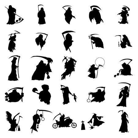 Grim reaper silhouette set isolated on white background Vectores
