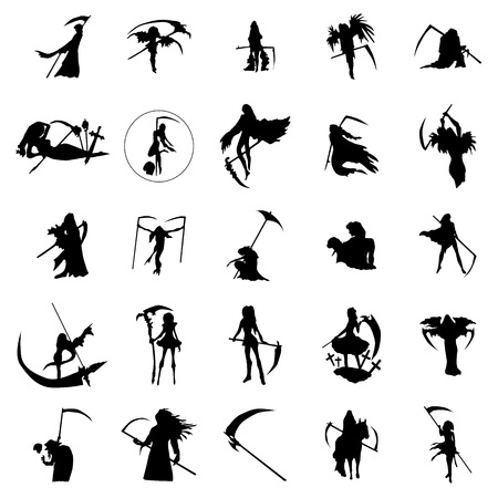 Grim reaper woman silhouettes set isolated on white background