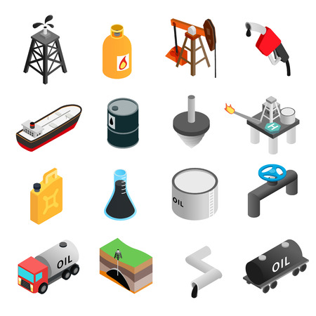 drilling well: Oil industry isometric 3d icons set isolated on white background Illustration