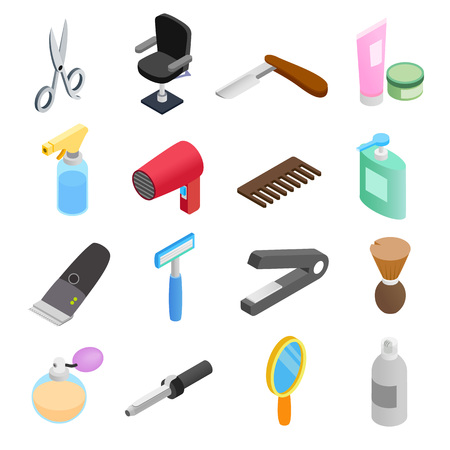 set of men hair styling: Barber shop isometric 3d icons. Hairdresser set isolated on white background Illustration
