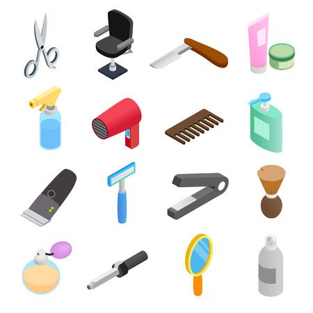 set of men hair styling: Barber shop isometric 3d icons. Hairdresser set isolated on white background Illustration