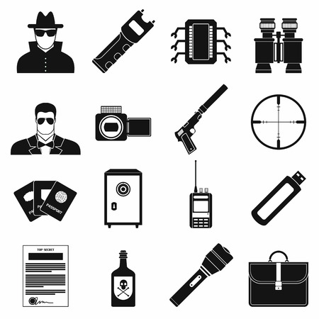 Spy simple icons set isolated on white background  イラスト・ベクター素材