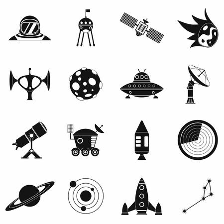 exploration: Space simple icons set for web and mobile devices