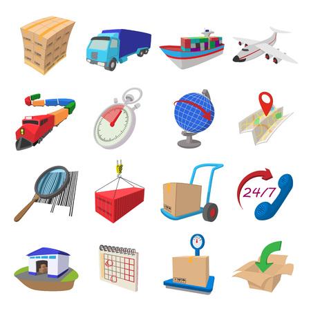 transport: Logistiek cartoon pictogrammen set geïsoleerd op een witte achtergrond Stock Illustratie