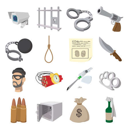 bullet proof: Crime cartoon icons set for web and mobile devices Illustration