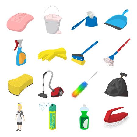 empleadas domesticas: Limpieza de iconos de dibujos animados conjunto aislado sobre fondo blanco