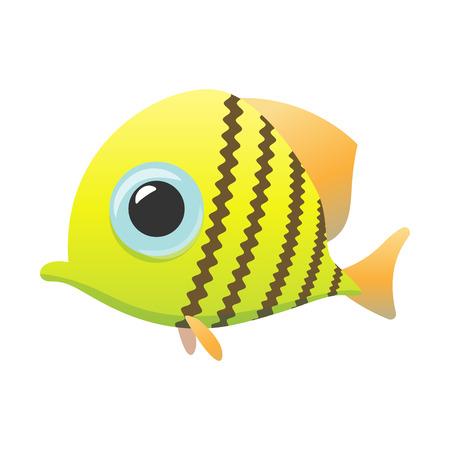 logo poisson: Yellow cute fish cartoon icon isolated on a white Illustration