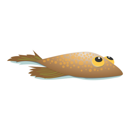 Flounder comic cartoon icon isolated on a white