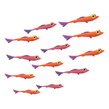 Group of small fish cartoon icon. School of sea fish isolated on a white