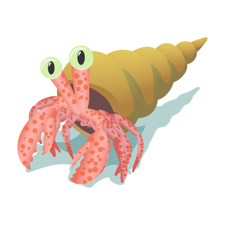 nipper: Crab in shell cartoon icon isolated on a white