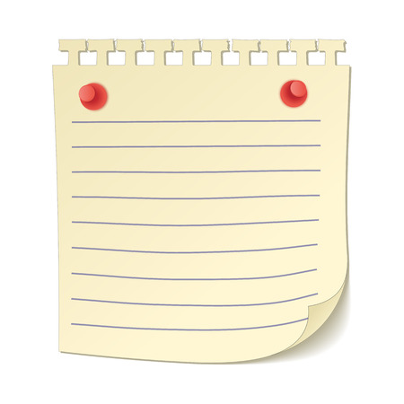 paper board: Paper sheet on the pushpins cartoon icon isolated on a white