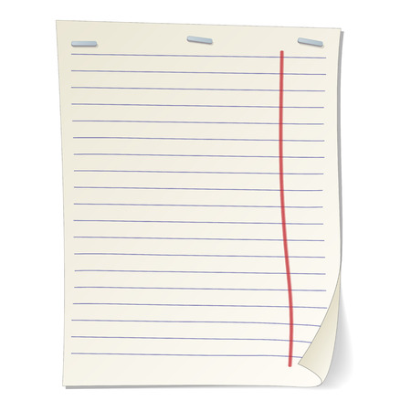 stripped: Stripped notebook paper cartoon illustration. Classical linear sheet on a white background Illustration