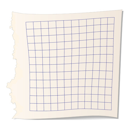 college ruled: Square paper for math cartoon icon on a white background