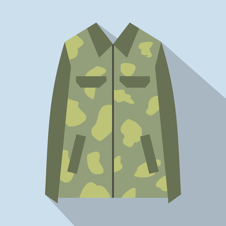 howitzer: Camouflage jacket flat icon. Military jacket for web and mobile devices