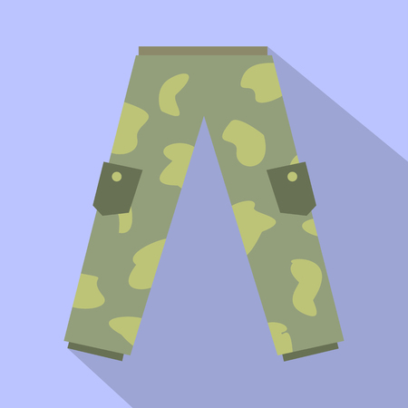 Camouflage trousers flat icon. Military cargo pants on purple background