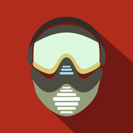 paintball: Paintball mask with goggles icon. Flat illustration isolated on red background Illustration