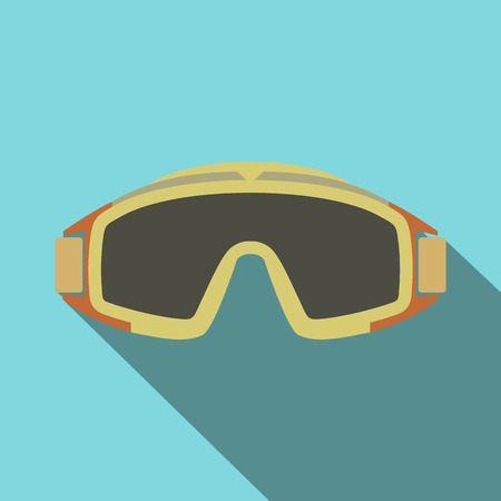 paintball: Paintball goggles flat icon. Single symbol on a blue background