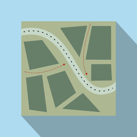 onrush: Stylized map flat illustration. Map for paintball on a blue background
