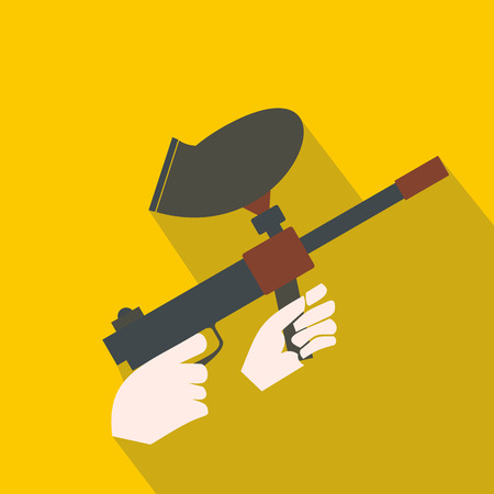 paint gun: Paintball marker flat icon. Paintball gun with paint on a yellow background