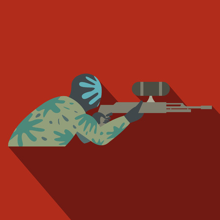 paintball: Paintball player with gun flat icon on a red background