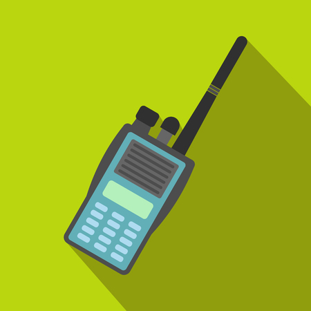 simplex: Military radio flat icon. Shortwave radio transmitter for paintball on a green background Illustration