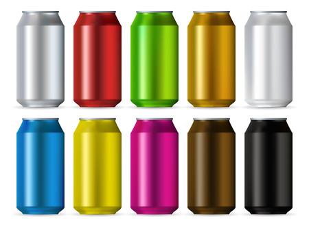 cola canette: Aluminium boîtes réalistes jeu de couleurs isolé sur fond blanc