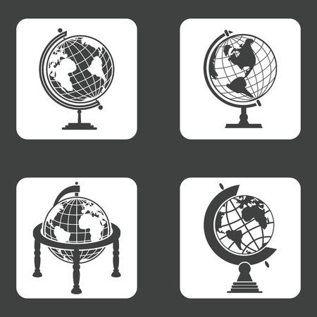 globe terrestre dessin: Icônes de globe terrestre fixés pour dispositifs web et mobiles