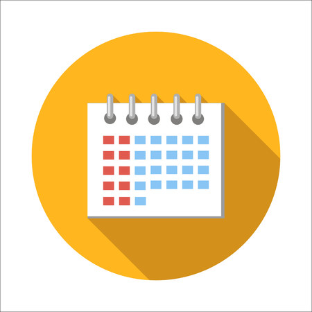 end of a long day: Calendar flat icon isolated on white background